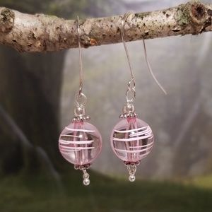 Ice pink dangle earrings